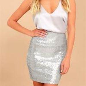 Silver Sequin Bodycon Mini Skirt